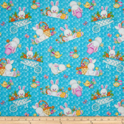 Hop To It Tossed Bunny Scenes Blue Fabric