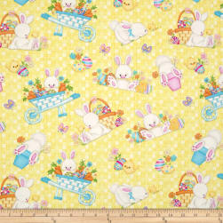 Hop To It Tossed Bunny Scenes Yellow Fabric
