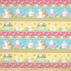 Hop To It Bunny Novelty Stripe Multi Fabric