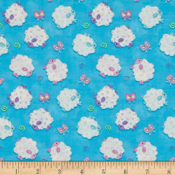 Hop To It Tossed Lambs Blue Fabric