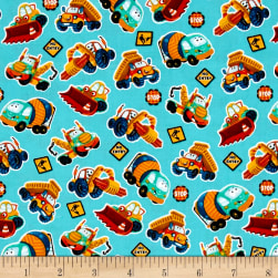 Let's Build Mini Construction Vehicles Teal Fabric