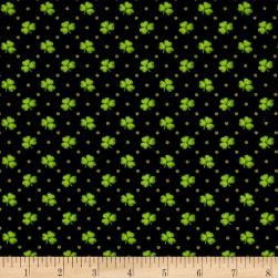 Lucky Me Shamrocks Black Fabric