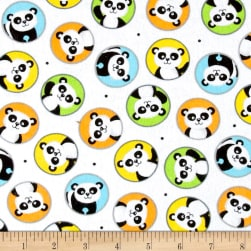 Henry Glass & Co. Panda-monium Flannel Pandas In Circles White