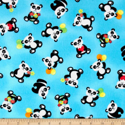 & Co. Panda-monium Flannel Tossed Pandas Aqua Fabric
