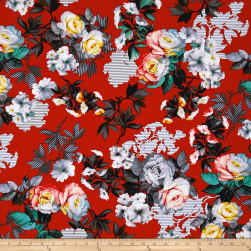 Romance Romantic Large Floral Red Fabric