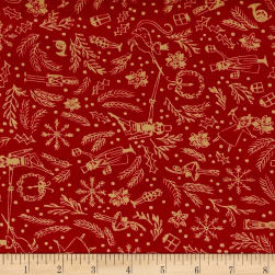 Michael Miller Minky Nutcracker Mini Overture Cranberry Fabric