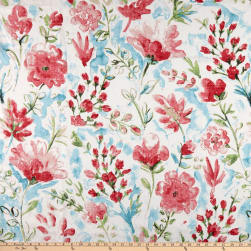 100% European Linen Watercolor Floral Red Fabric