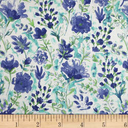 100% European Linen Watercolor Floral Blue Fabric