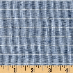 100% European Delave Linen Stripe Chambray Twill Fabric