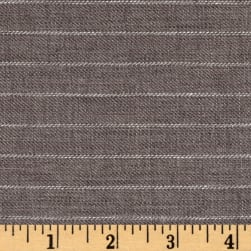 100% European Delave Linen Stripe Gray Twill Fabric