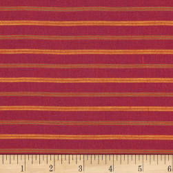 100% European Linen Striped Shirting Cranberry Orange Fabric