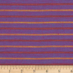 100% European Linen Striped Shirting Plum Multi Fabric