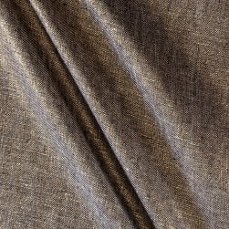 Metallic 100% European Linen Gold & Indigo Fabric