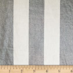 European 100% Linen Metallic Striped Silver & Indigo Fabric