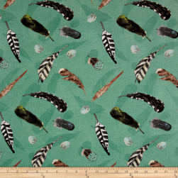 At The Lodge Flannel Feathers Allover Teal Fabric