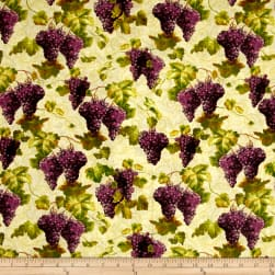 Uncorked Grapes and Vines Tan Fabric
