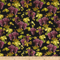 Uncorked Grapes and Vines Black Fabric