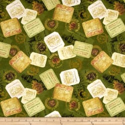 Uncorked Wine Labels Green Fabric