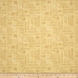 Uncorked Words Allover Dark Tan Fabric