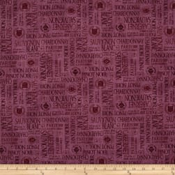 Uncorked Words Allover Purple Fabric