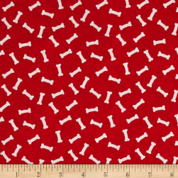 Dog Wisdom Bones Allover Red Fabric