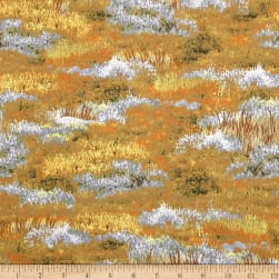 Roaming Wild Grass Allover Orange Fabric