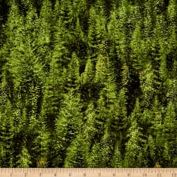 Roaming Wild Trees Allover Dark Green Fabric