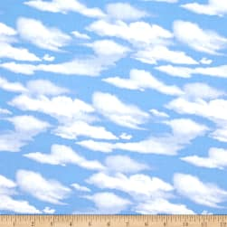 Roaming Wild Clouds Allover Blue Fabric
