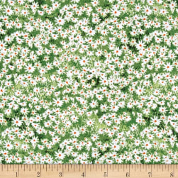 Roaming Wild Wildflowers Allover Green/White Fabric