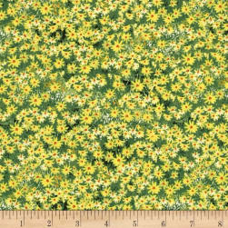 Roaming Wild Wildflowers Allover Green/Yellow Fabric