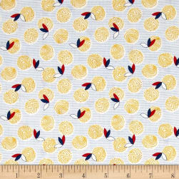 Chicken Scratch Yolks and Feathers Tan/Blue Fabric