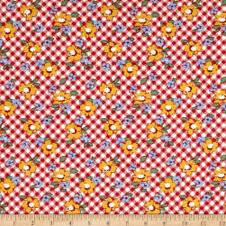 Chicken Scratch Gingham Floral Red Fabric