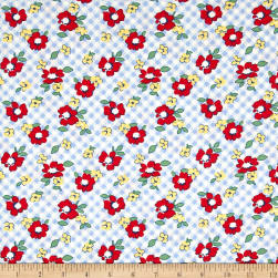 Chicken Scratch Gingham Floral Blue Fabric