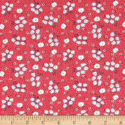 Chicken Scratch Flowers and Circles Red Fabric