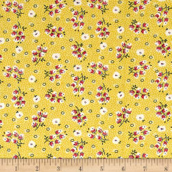 Chicken Scratch Flowers and Circles Gold Fabric