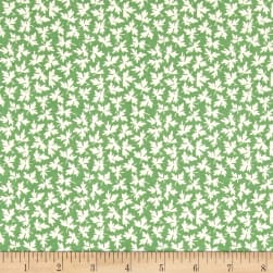 Chicken Scratch Leaves Green Fabric