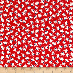 Chicken Scratch Coneflowers Red Fabric
