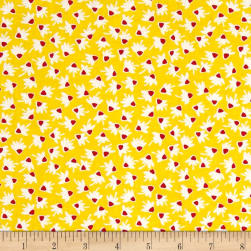Chicken Scratch Coneflowers Gold Fabric