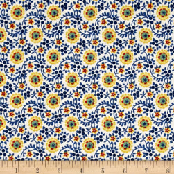 Chicken Scratch Flowers and Vines Tan/Blue Fabric
