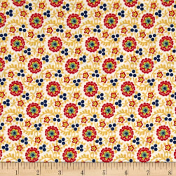 Chicken Scratch Flowers and Vines Tan/Gold Fabric