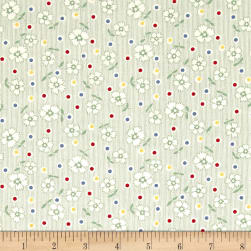 Chicken Scratch Flowers and Dots Tan/Green Fabric