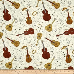 Classically Trained Wood Instrument Toss Ivory Fabric