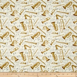 Classically Trained Brass Instrument Toss Ivory Fabric