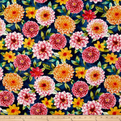 Prelude Large Floral Dark Blue Fabric