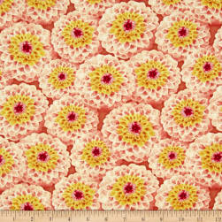 Prelude Packed Dahlias Orange Fabric