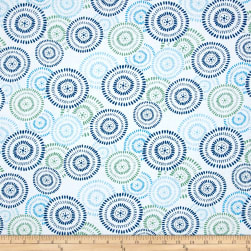 Prelude Circle Medallions White/Blue Fabric