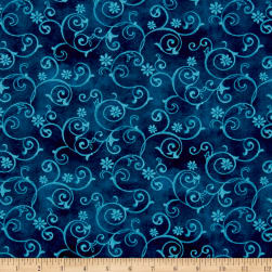 Prelude Scrolls Dark Blue Fabric