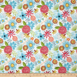 Believe You Can Flowers Allover White/Blue Fabric