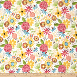 Believe You Can Flowers Allover Light Tan Fabric
