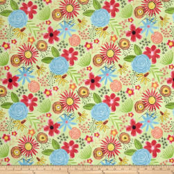 Believe You Can Flowers Allover Green Fabric